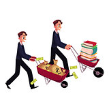 Men, businessmen pushing wheelbarrows, one with books, another holding money