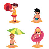 Babies, kids, children on the beach, sea summer holidays