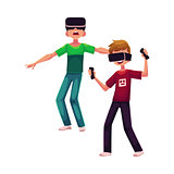 Two boys wearing virtual reality headsets, simulators, playing together