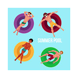 Banner, poster template with men on inflatable rings in pool