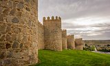 Walls of the historic city of Avila, Castilla y Leon, Spain