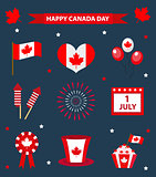 Happy Canada Day icons set, design elements, flat style. July 1 National Day of Canada holiday collection of objects with firework, flag, hat, balloons, emblem. Vector illustration.