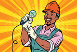 Construction worker with  light bulb