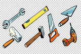 Set repair tools, isolated background