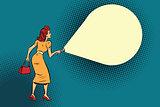 woman light flashlight