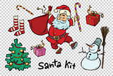 Kit Santa set Christmas New year items and characters