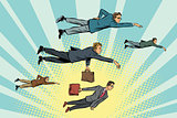 Businessmen are floating in the air