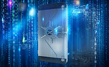 Safe cellphone from hacker attack like a strongbox. 3D Rendering