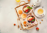 Healthy Breakfast with oatmeal and fresh berries