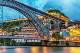 Porto, Portugal: the Dom Luis I Bridge and the Serra do Pilar Monastery on the Vila Nova de Gaia side