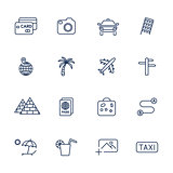 Set with different travel icons