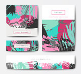 Modern brush vector postcard template