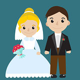 Bride and groom icon characters flat style. Wedding concept. Marriage. Vector illustration.