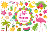 Hello summer collection of design elements,flat style. Tropical set with exotic flowers, flamingos, fruits. Beach concept kit objects, isolated on white background. Vector illustration, clip-art.