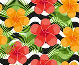 Tropical flowers, plants, leaves and animal skin seamless pattern. Summer Endless floral background. Paradise repeating texture. Exotic backdrop. Vector illustration.