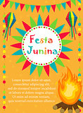 Festa Junina greeting card, invitation, poster. Brazilian Latin American festival template for your design.Vector illustration.