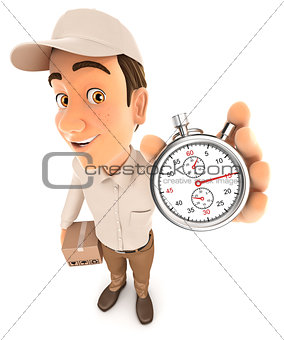 3d delivery man holding stopwatch
