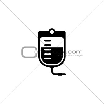 Blood Bag and Medical Services Icon. Flat Design.