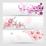 Cherry blossom banners set