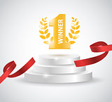Winner background with red ribbon, on round pedestal isolated on white. Poster or brochure template.