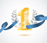 Winner, number one background with blue ribbon, olive branch and confetti on white.