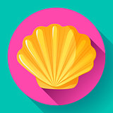 gold sea shell flat vector logo Seafood flat icon.