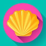 gold sea shell flat vector logo Seafood flat icon.