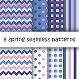 Set of Geometric Seamless Pattern in pastel colors