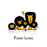 Funny lions, sketch for your design
