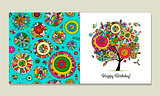 Greeting card design, floral tree