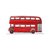 Red bus, sketch for your design