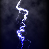 Lightning flash light thunder spark on black background with clouds. Vector spark lightning or electricity blast storm or thunderbolt in sky. Natural phenomenon of human nerve or neural cells system