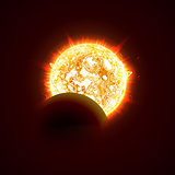 New sun eclipse vector illustration, 3d bright sunny summer day. Half of the sun realistic picture.