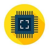 Computer Chip Flat Circle Icon