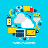 Cloud Computing Flat Concept