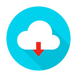Cloud Upload Flat Circle Icon