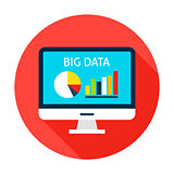 Big Data Computer Flat Circle Icon
