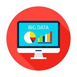 Big Data Computer Flat Circle Icon