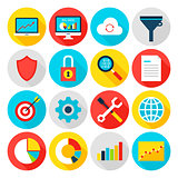 Big Data Analytics Flat Icons