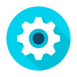 Gear Wheel Flat Circle Icon