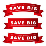 Save Big red ribbon set