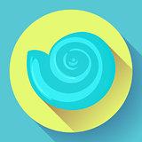blue sea shell flat vector logo Seafood flat icon.