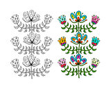 Scandinavian folk style flowers for your design
