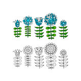 Scandinavian folk style flowers for your design