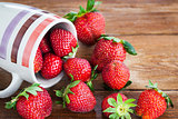 Fresh ripe strawberries in mug