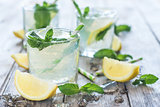 Chilled mint lemonade