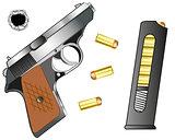 Gun and cartridge clip with patron