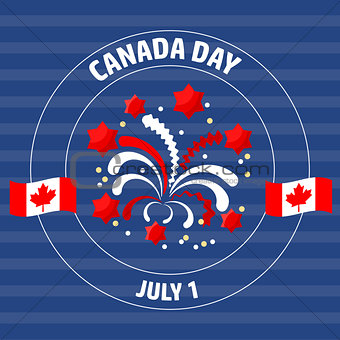 Canada Day label  on blue.  Vector illustration.