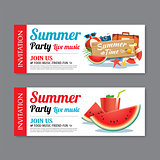 summer pool party invitation ticket template background