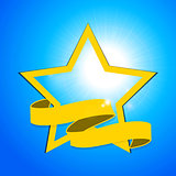 Yellow star and banner over blue sky